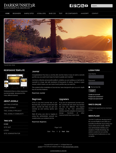 template for joomla 168 with responsive free joomla 3 template a4joomla darksunset3r free
