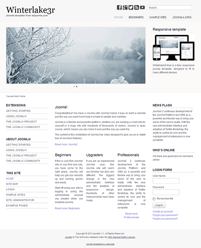 professional and free joomla templates a4joomla responsive free joomla 3 template a4joomla winterlake3r free